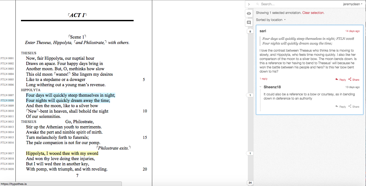 Students in a MOOC on Shakespeare annotating *A Midsummer Night's Dream*