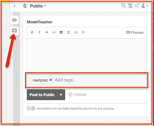 "Create a page-level annotation by clicking the ""Note"" icon on the sidebar and add ""nextprez"" in the tag field."