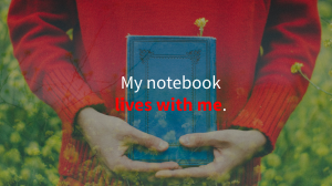 "Man in red sweater holding a notebook with overlaid text saying ""My notebook lives with me."""