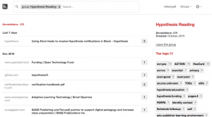 Hypothesis view showing all annotations for a group.