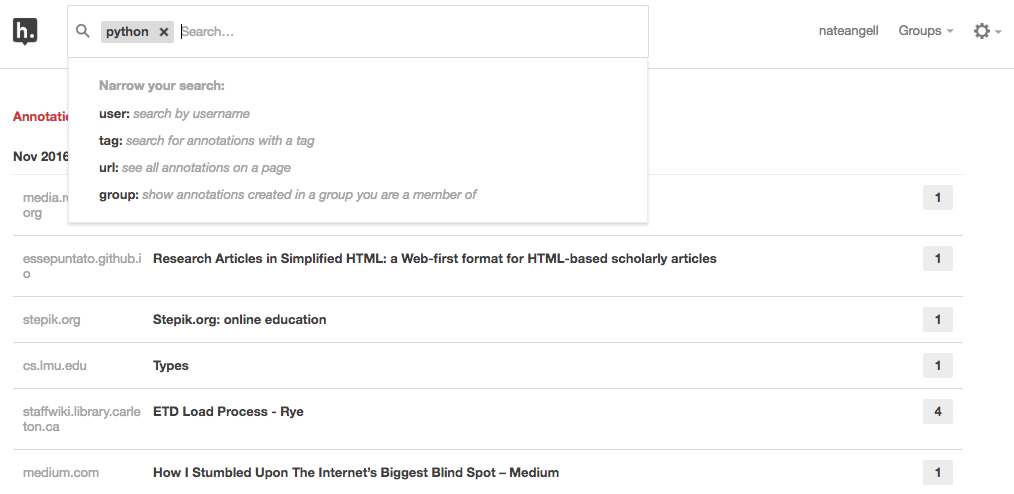 Screenshot of Hypothesis search view.