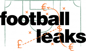 Logo with Football Leaks text over a diagram of a football/soccer field schematic, with European money symbols in place of players.