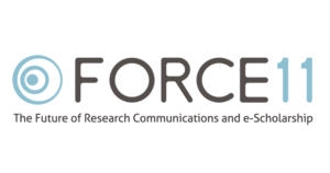 Logo for FORCE11: The Future of Research Communications and e-Scholarship.
