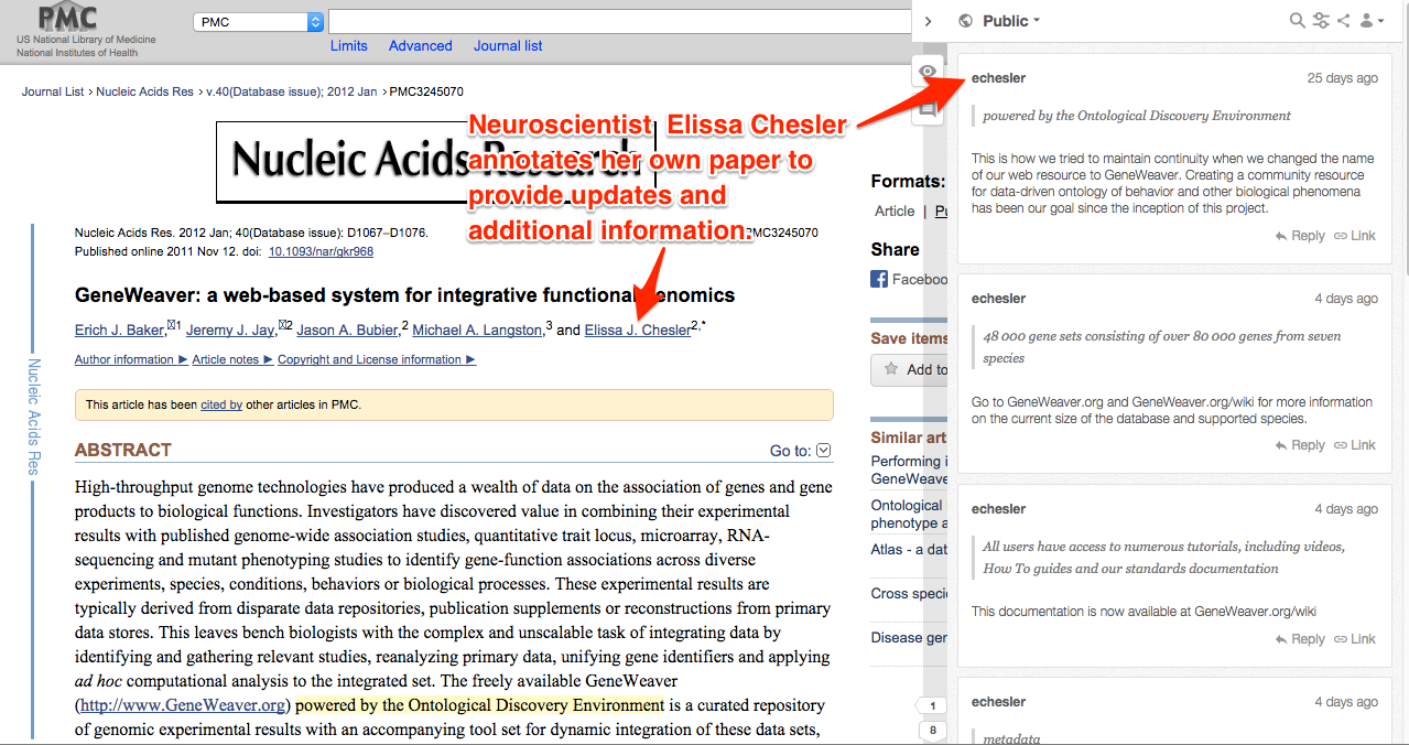 Screenshot of scientific journal article with annotations by its author added after publication.