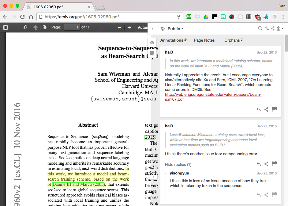Screenshot of annotations added to a published scientific journal article.