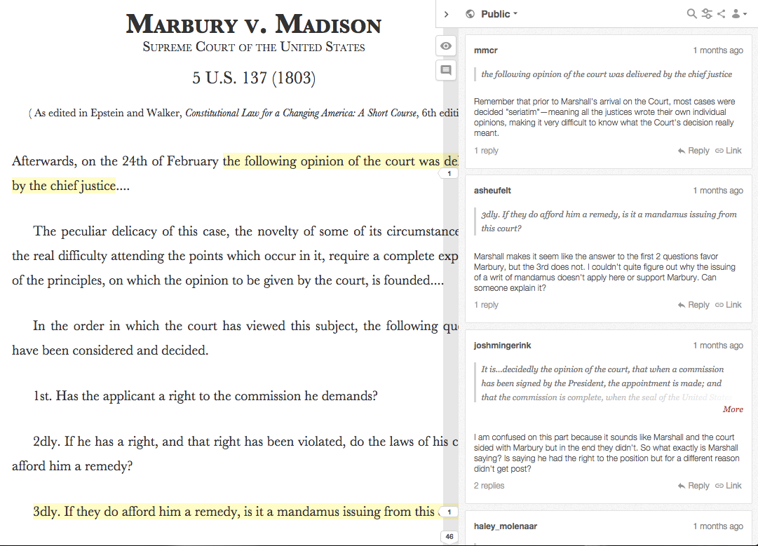 Screenshot of webpage annotated by students.