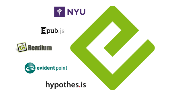 A large EPUB logo, surrounded by logos for NYU, EPUB.js, the Readium Foundation, Evident Point, and Hypothesis.