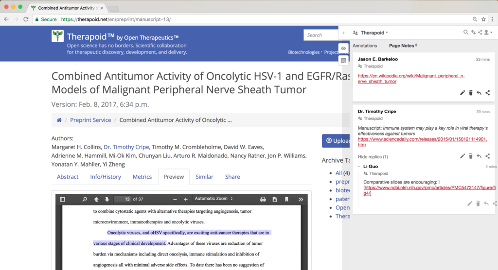 Screenshot of Open Therapeutics preprint with annotations.