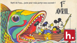 French text: Sorti de l'eau... juste pour vous porter mon souvenir! Mickey Mouse and friends fishing for the Hypothesis logo in a boat about to be eaten by a larger fish.