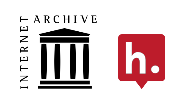 Logos for the Internet Archive and Hypothesis.