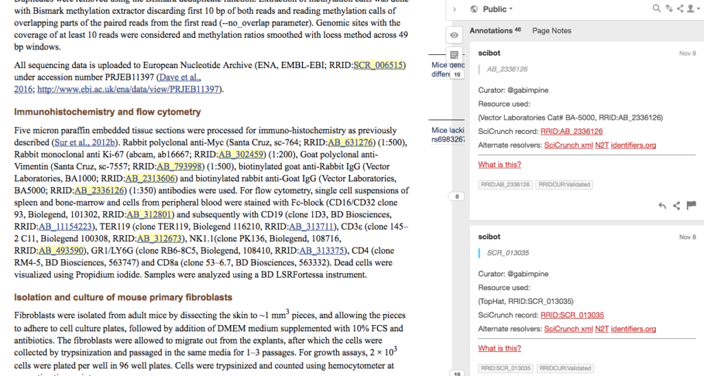 Screenshot of journal article with annotations.