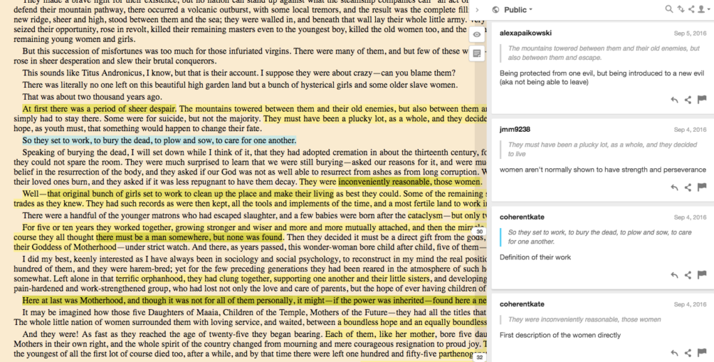 Screentshot of Herland text by C. Gilman showing student annotations.