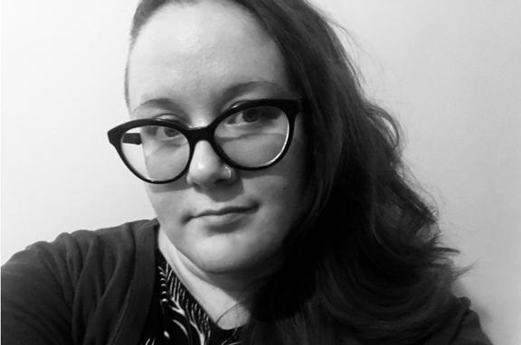 Black and white headshot of Katelyn Lemay.