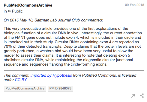Screenshot of an example comment from the Hypothesis PubMed Commons Archive.