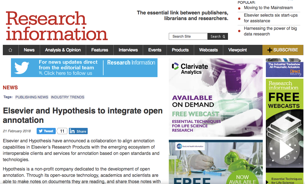 Screenshot of Research Information article about Elsevier and Hypothesis partnership.