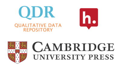 Logos for Hypothesis, Qualitative Data Repository and Cambridge University Press.
