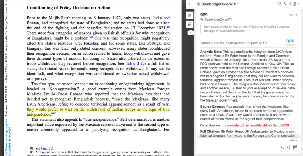 Screenshot of an ATI annotation on a Cambridge University Press journal article.