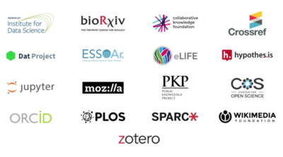 Logos from all the organizations that have formally joined the Joint Roadmap for Open Science Tools.