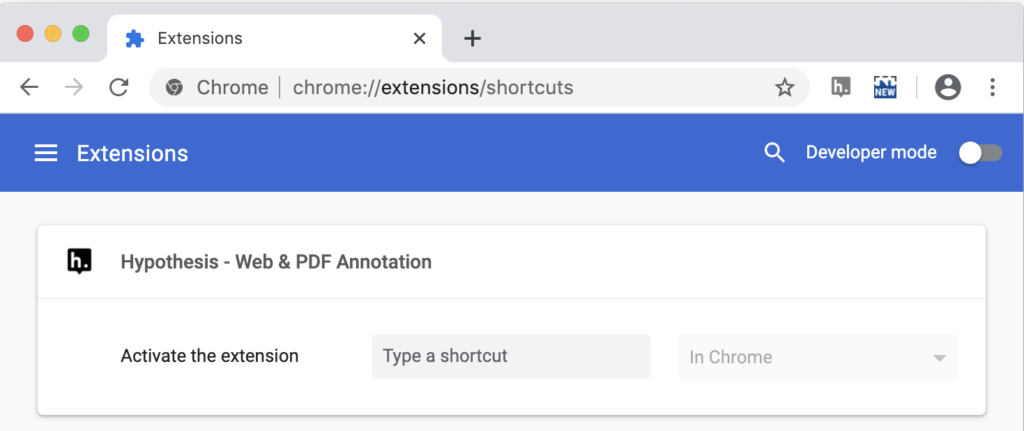 screenshot of the Chrome extensions shortcuts page