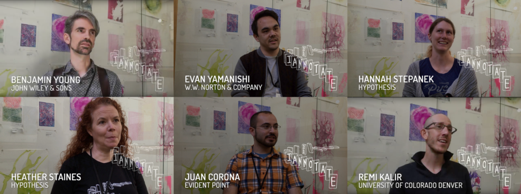 Headshots of 6 people interviewed at I Annotate 2018: Benjamin Young, Evan Yamanishi, Hannah Stepanek, Heather Staines, Juan Corona, Remi Kalir