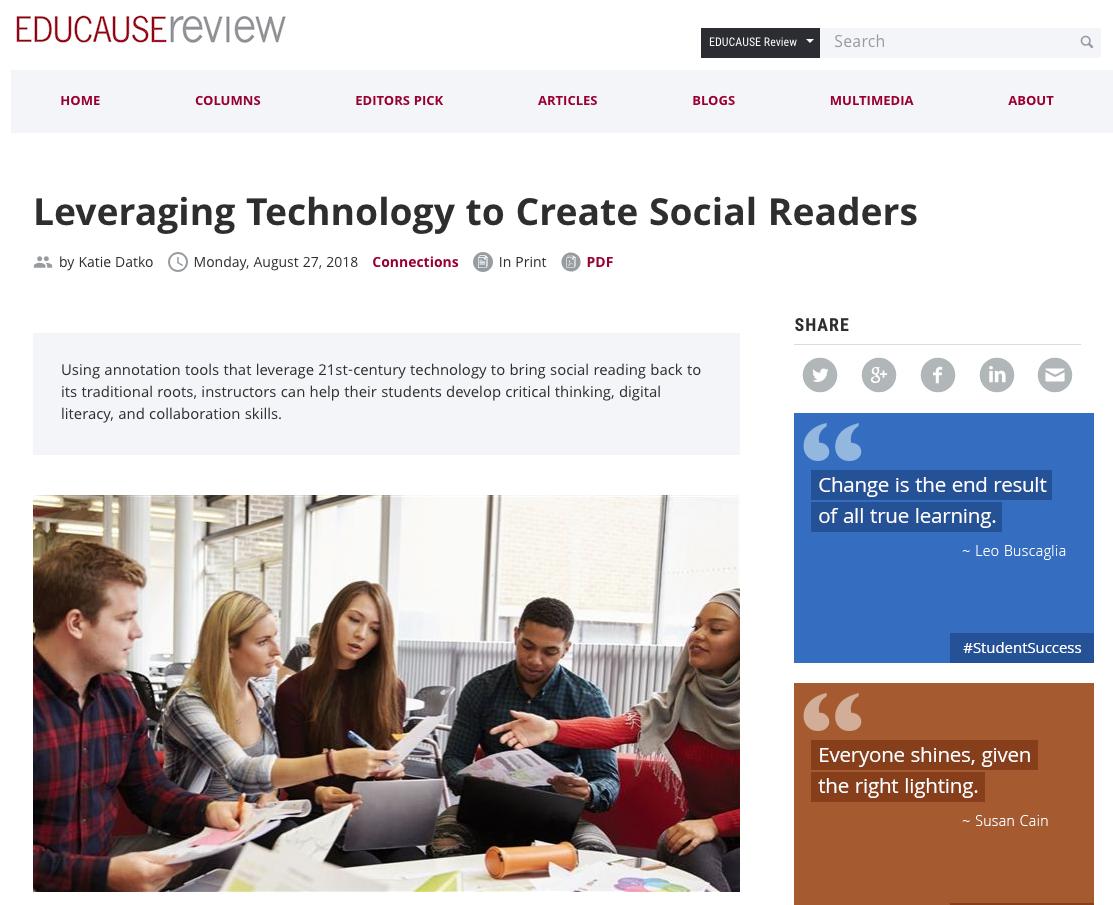 Screenshot of EDUCAUSE Review article.