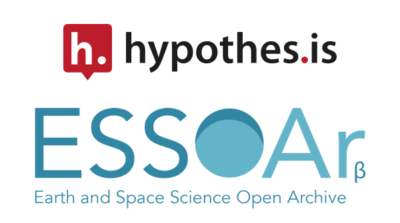 Logos for Hypothesis and the Earth and Space Science Open Archive (ESSOAr).