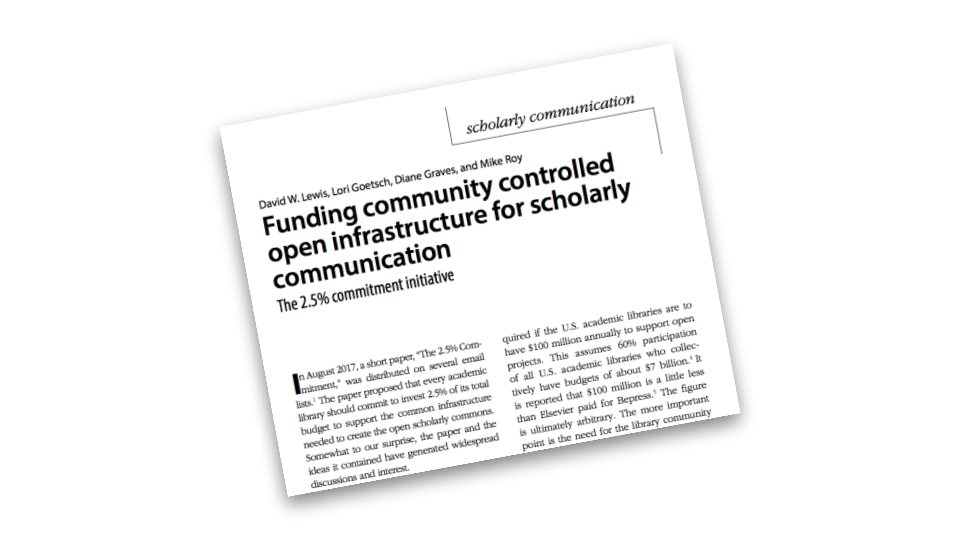 "Tilted screenshot of a scholarly article titled ""The 2.5 Commitment Initiative"""