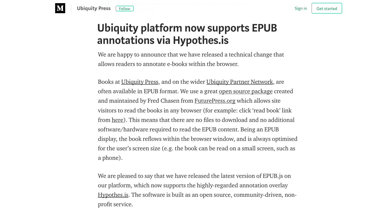 Screenshot of post from Ubiquity.
