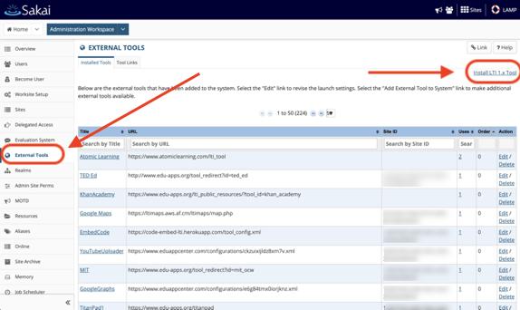 Sakai admin install tool page