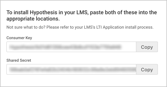 Hypothesis LMS credentials
