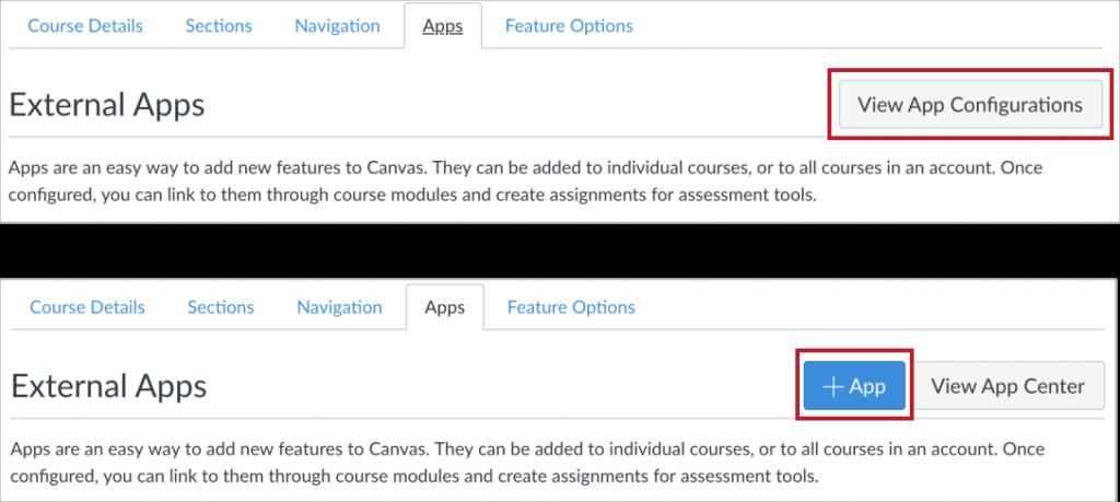 Canvas Settings - Apps tab