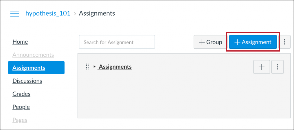 """Location of """"+ Assignment"""" button"""