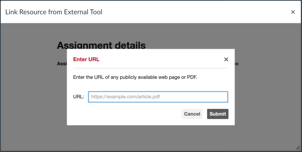 """Enter URL"" window"