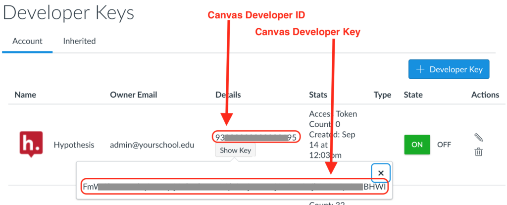 Locations of Developer ID and Key