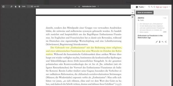 A screenshot of annotation on Göttingen University Press.