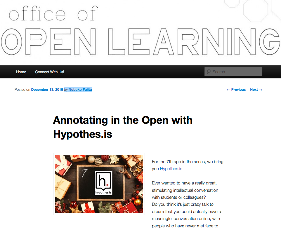 Screenshot of article from the University of Windsor's Office of Open Learning blog.