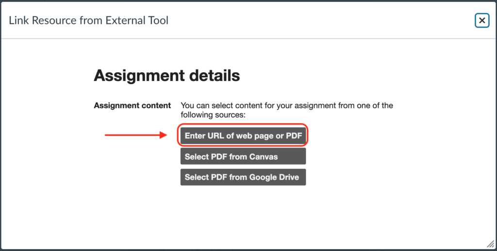 """Location of """"Enter a URL of web page or PDF"""" button"""
