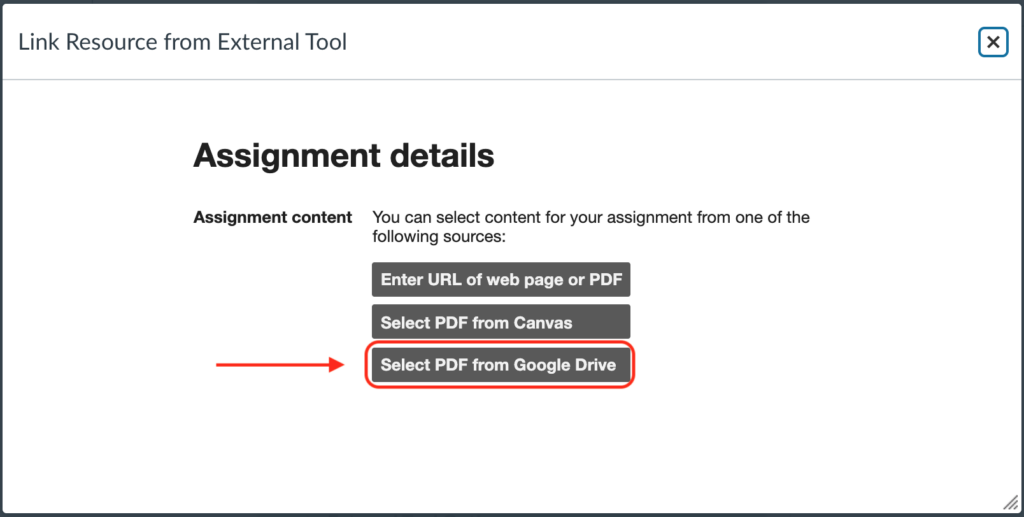 """Location of """"Select PDF from Google Drive"""" button"""