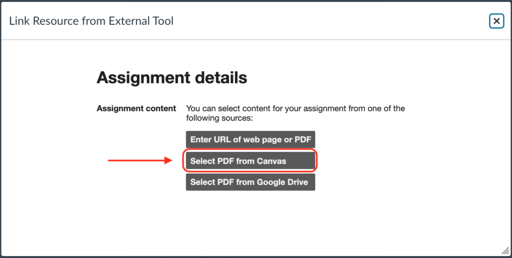 """Location of """"Select PDF from Canvas"""" button"""