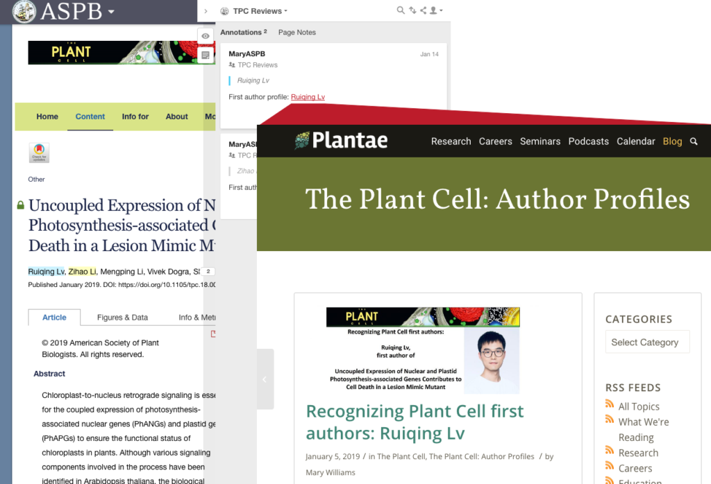 Screenshot of an annotation on an article in ASPB's The Plant Cell journal linking to a biography of one of the article's authors.