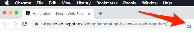 Screenshot of Chrome toolbar with Hypothesis extension icon.