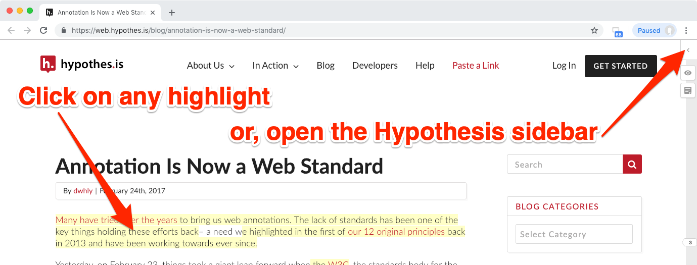 Screenshot of a webpage showing the closed Hypothesis sidebar and highlighted text.