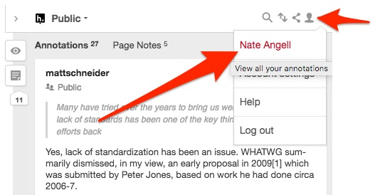 Screenshot showing how to click on your username in the Hypothesis sidebar to reach your profile.