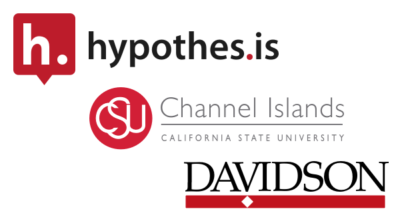 Logos for Hypothesis California State University Channel Islands, & Davidson College, stacked from upper left to bottom right.