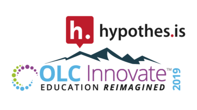 The Hypothesis logo and wordmark above the logo for OLC Innovate 2019.