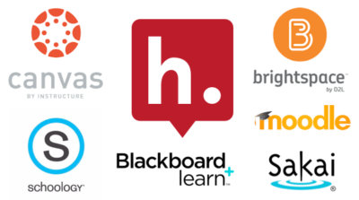 The Hypothesis Logo, circled by logos for Blackboard Learn, D2L Brightspace, Instructure Canvas, Moodle, Sakai, & Schoology.