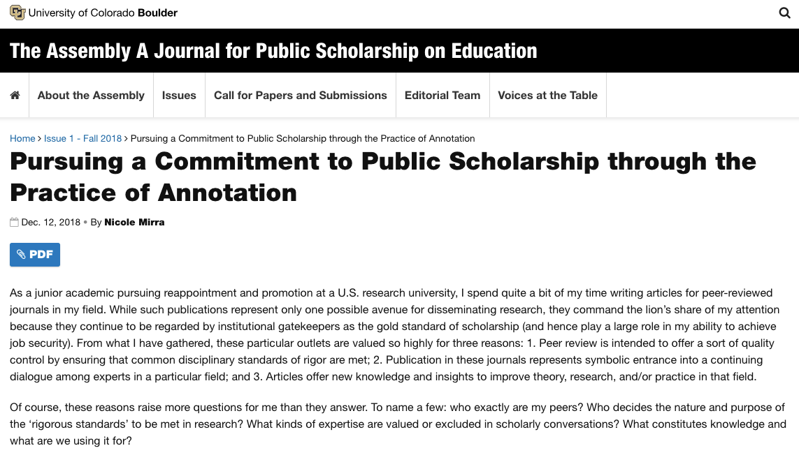 Screenshot of Nicole Mirra's article in The Assembly A Journal for Public Scholarship on Education.