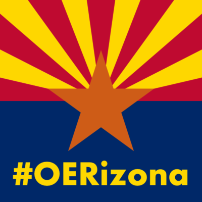 The #OERizona hashtag in yellow on the blue of the Arizona state flag.