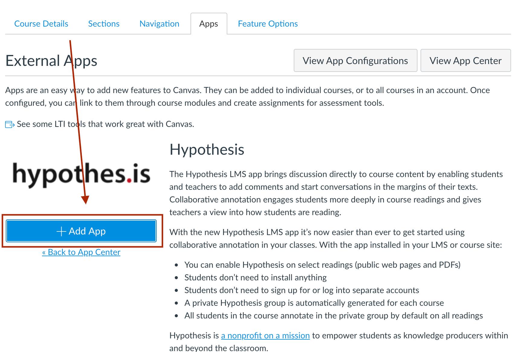 App Center - add Hypothesis