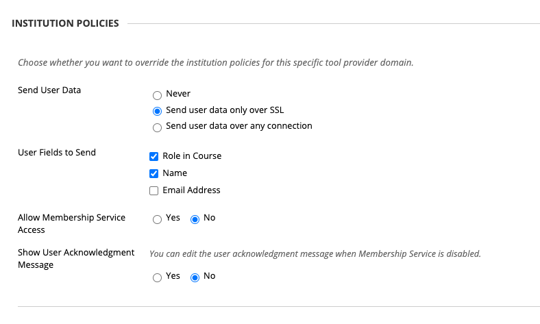 Displaying settings on Blackboard institution policies